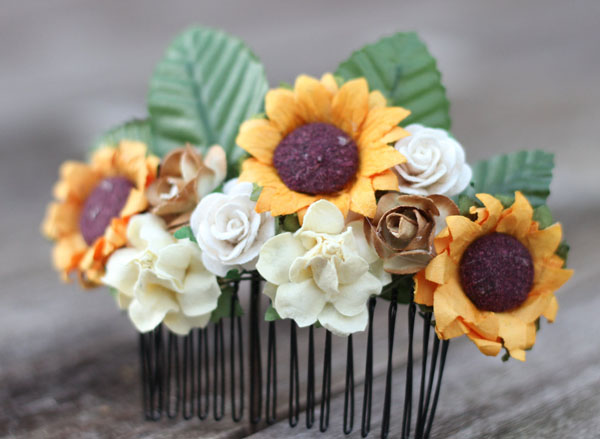 Sunflower Bridal Hair Comb Floral Hair Piece Rustic Wedding Clip